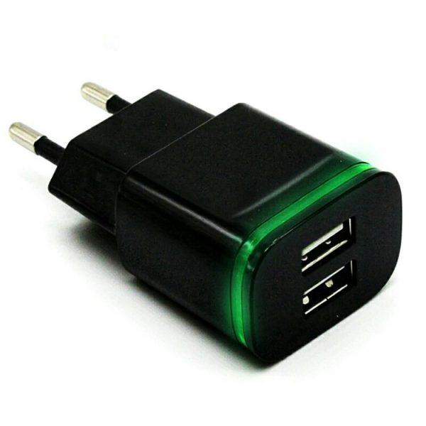 zaryadka 2.1A s dvumya USB portami i LED podsvetkoy