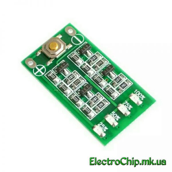 LED indikator zaryada/razryada akkumulyatorov li-ion, li-pol 3S 12.6V