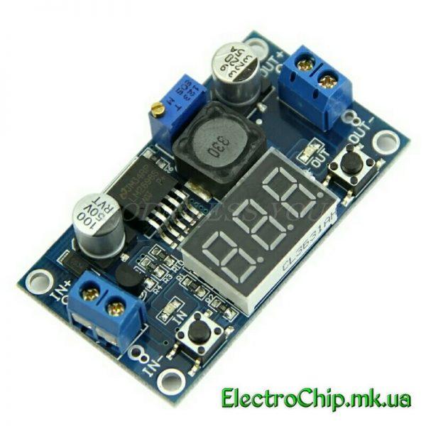 LM2596 DC-DC reguliruemyiy preobrazovatel s voltmetrom, vhod 4-40V, vyihod 1,3 - 37V, tok 2A